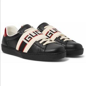 Gucci Ace Sneaker Logo Print Strap Black Low top10